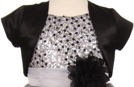 Flower Girl Dress Satin Short Sleeve with Coat Black KD 355 - $15.84+