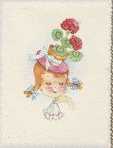 Vintage Greeting Card Girl in Flower Pot Hat 1940's Unused with Envelope - $8.90