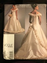 Vogue V1095 Bellville Sassoon Bridal Original Wedding Dress 12-16 Uncut ... - $26.43