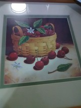 Longaberger Framed Picture Cherries and Basket - Print by Richard Cowrey 1999 - $9.15