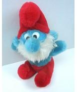 "Vintage The Smurfs 1981 Papa Smurf  8"" Beanie Bottom Plush  Blue Red Pants - $9.49"