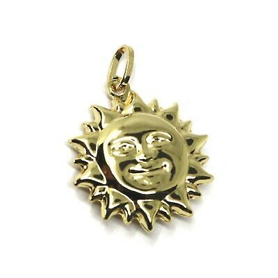 18K YELLOW GOLD SUN PENDANT BIG 22mm DIAMETER, ROUNDED SMOOTH ROUNDED, 2 FACES