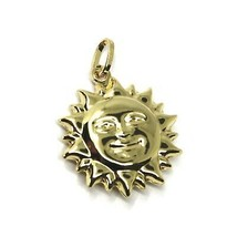 18K YELLOW GOLD SUN PENDANT BIG 22mm DIAMETER, ROUNDED SMOOTH ROUNDED, 2 FACES image 1