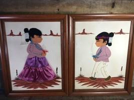 NATIVE Boy Girl Framed 3D Art Materials Felt Clothes Canvas Textile 14.5... - $14.85