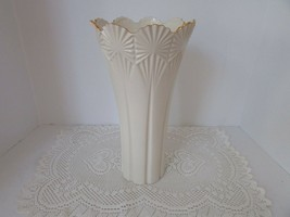 "LENOX CLASSIC FAN VASE 12"" NEW WITH STICKER STUNNING W/GOLD ACCENT HARD ... - $49.45"