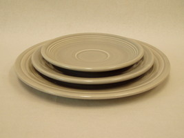 3 Lot Vintage Fiesta Ware GRAY Saucer Salad Luncheon Plates Homer Laughl... - $59.40