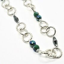 Necklace the Aluminium Long 60 Inch with Hematite Faceted and Crystal image 5