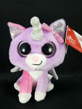 "Russ Unicorn Cat Cupid 7"" Shiny Big Eyes Purple Plush Stuffed Animal NEW... - $16.82"
