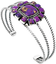 Purple Turquoise Bracelet Sterling Silver 925 Genuine Turquoise (Cable w... - $306.89