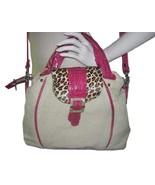 NWOT - Donald J. Pliner Khaki Canvas Hot Pink Leather & Leopard Large To... - $59.39