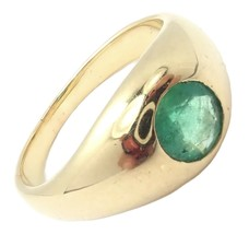 Authentic! Vintage Cartier 18k Yellow Gold Emerald Band Ring - $4,250.00