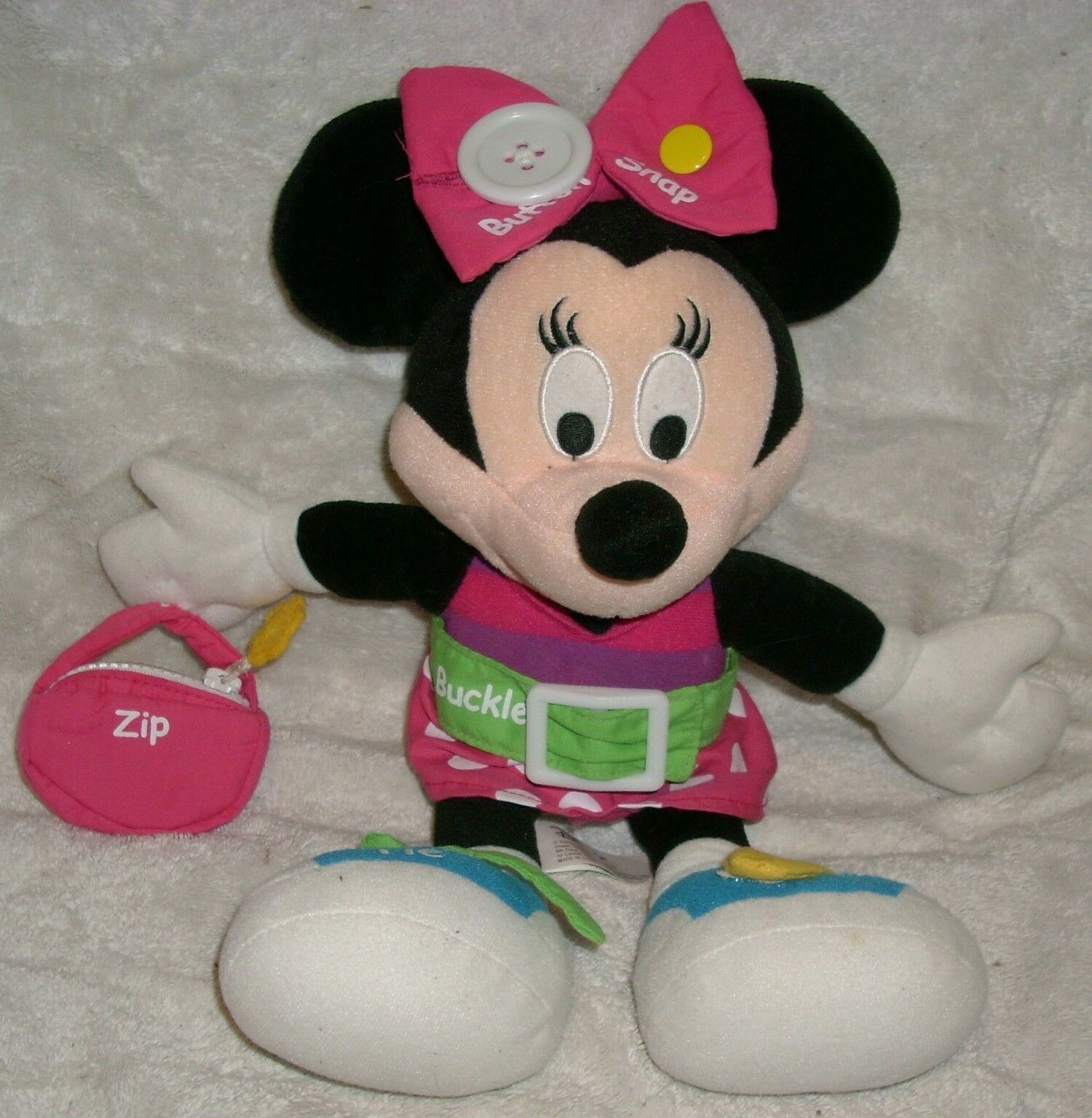 "14"" DISNEY TEACH MINNIE MOUSE LEARN ZIP BUCKLE TIE STUFFED ANIMAL PLUSH TOY DOLL"