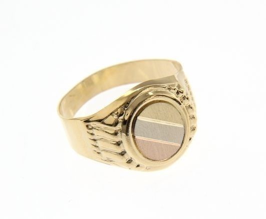 18K YELLOW WHITE ROSE GOLD BAND MAN RING ROUND SATIN LUMINOUS MADE IN ITALY