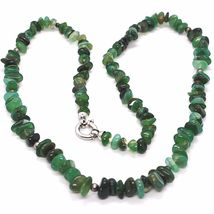 925 Silver Necklace with Agate Green Striated, 50 or 75 cm length image 4