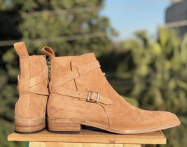 Handmade Tan Suede Jodhpur's High Ankle Monk Strap Boots For Men image 3