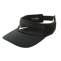 NEW! Nike Adult Featherlight Aerobill Tennis Visor-Black/White 899654-010 - $44.43