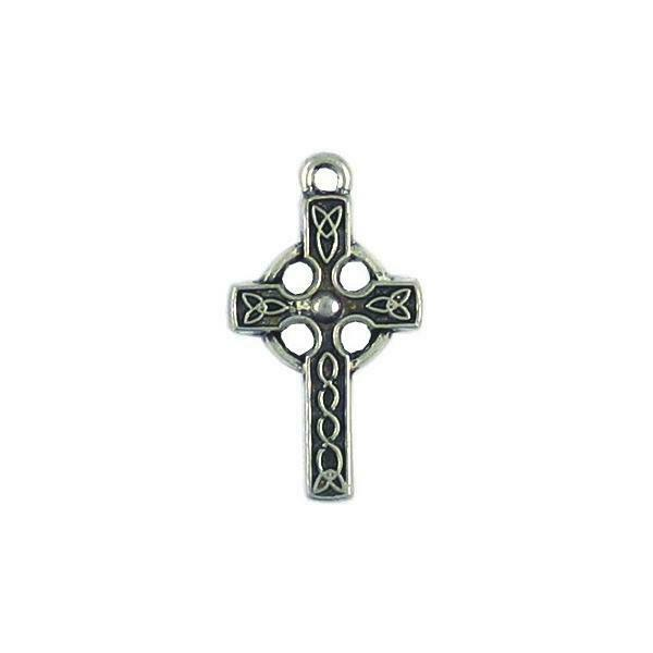 CELTIC CROSS CHARM FINE PEWTER PENDANT CHARM 15mm W x 27.5mm L x 2mm D