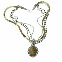 Mars and Valentine's Lava Cameo With Green Tourmaline Necklace - $866.25