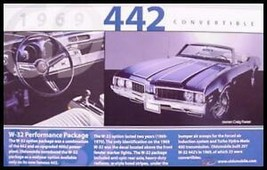 1969 Oldsmobile 442 Convertible W-32 Postcard, MINT - $6.99