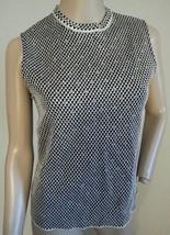 St. John Evening Marie Gray Black Santana Knit Silver Threaded Rhinestone Blouse - $132.99