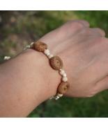 Cord bracelet with oak acorns. Beaded bracelet. Wooden bracelet. - $8.00