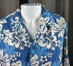 XL VTG RJC Hawaiian Aloha Shirt Blue White Hibiscus Vintage Made in USA ... - $25.99