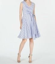Calvin Klein 6 Dress Womens Blue Striped Fit & Flare MSRP $134 - $118.80