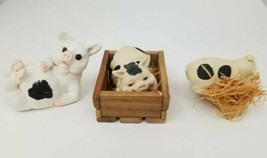 Pig Figurines Lot of 3 White Black Spots On Back, In Pen, Sleeping in Straw - $11.64