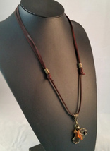 Bronze Raven Deerskin Leather Necklace Brown and Bronze, Amber Viking LARP - $45.00