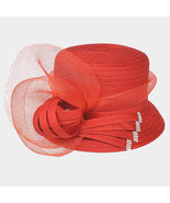 Ginga's Galleria Red Bow Accented Flower Dressy Derby Hat - $43.50