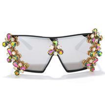 Oversized Colorful Diamond Sunglasses Women Luxury Fashion One Piece Square Sung image 11