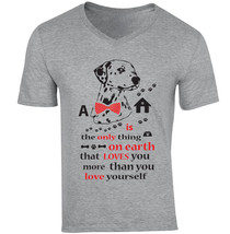 Dalmatanian Is The Only Thing - New Cotton Grey V-NECK Tshirt - $20.75