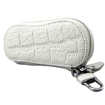 PANDA SUPERSTORE Geniune Leather Key Bag Key Chain Case Car Key Holder(White)
