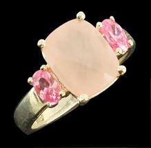 Vintage Sterling 2.26CT Pink  Rose Quartz Basket Weave Cut  Ring Size 6.5 - $71.99