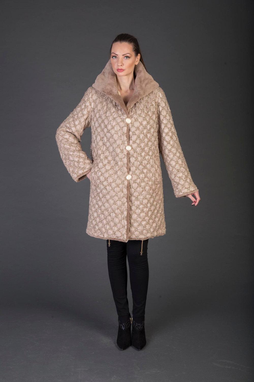 Luxury gift/Light Brown Beaver Fur Coat/Fur jacket /Hooded Wedding,or anniversar