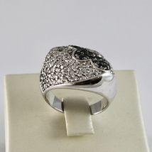 925 Silver Ring with Flower Zircon Cubic White & Black image 3