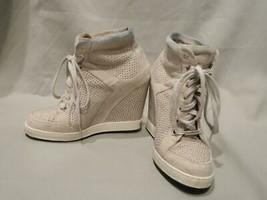 Jimmy Choo Panama Wedge Sneakers Silver Stud Suede Casual Shoes 36.5 - $57.77