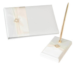 Ivory Satin Wedding Guest Book and pen set - $15.10