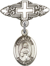 Sterling Silver Baby Badge with St. Lillian Charm Pin with Cross 1 X 3/4... - $57.89