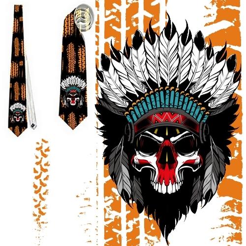 necktie  Skull Indian Apache Cherokee USA lethal speed  tietie