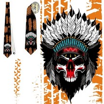 necktie  Skull Indian Apache Cherokee USA lethal speed  tietie - $22.00