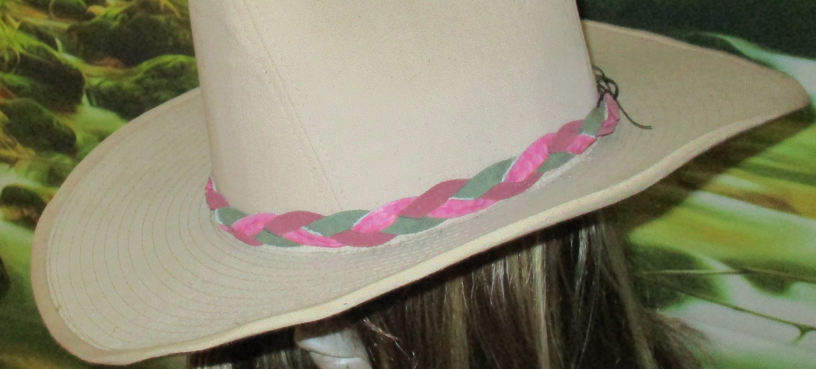 American Made! Multi Color Pink & Green Braided Leather Hat-Band, Leather Suede