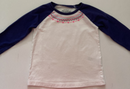 OshKosh, Baby Girl Clothes, SZ 12 MO, White Shirt with Navy Blue and Pink Trim - $6.00