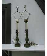 Vintage Paul Hanson Mid Century Pair Of Table Lamps Antique Brass Green ... - $199.99