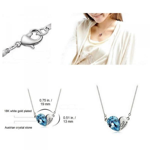 18K White Gold Plated Heart Swarovski Crystal Necklace - Aquamarine