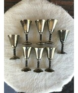 8 Roma S.L. Goblets Silver Plate Pedestal Wine Cups Madrid Spain Grapevi... - $44.55