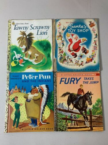 Primary image for Lot of 4 Kids BOOKS Tawny Lion Santa Peter Pan Indians Fury Golden Books