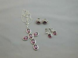 Vintage Danecraft Sterling & Amethyst Cross Necklace & 2 Pairs Of Earrings - $149.99