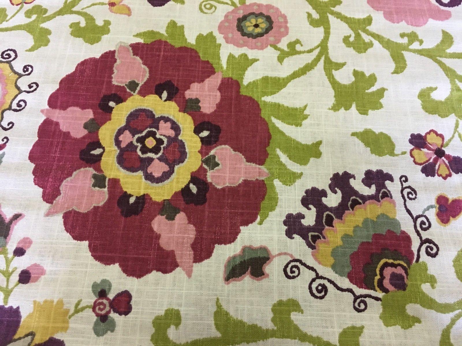 1.25 yds P Kaufmann Upholstery Fabric Floral Print FC