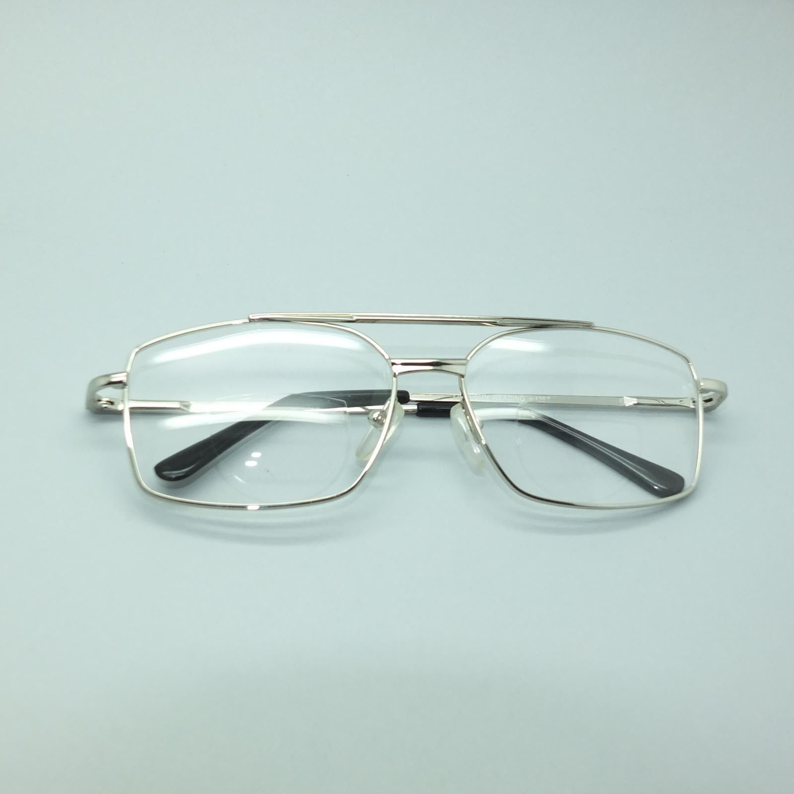 Bifocal Reading Glasses Square Aviator 80's Style Silver Metal Frame +2.25 Lens